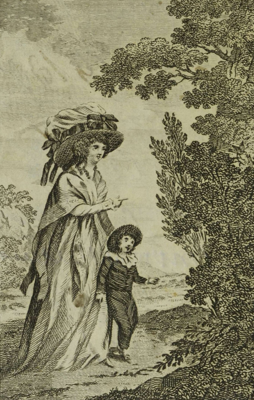 Black and white illustration of an 18th century woman and child in a garden.