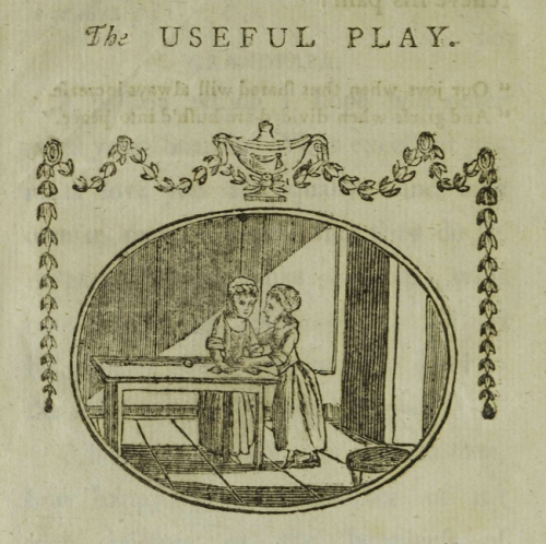 "Black and white illustration entitled ""The Useful Play"" depicting two girls playing at a table."