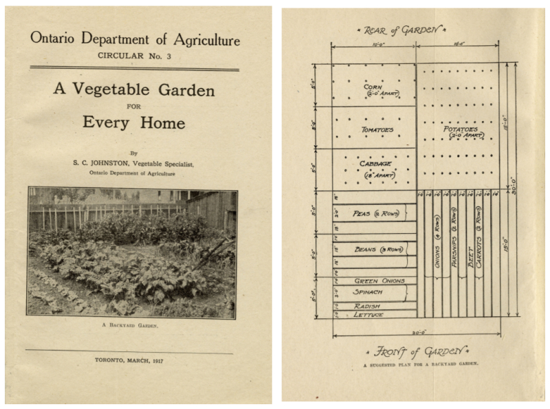 Two pages one with a black and white image of a garden and the other with an overhead diagram of a garden plot