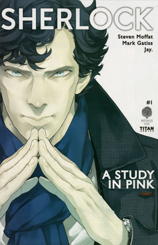 Cover of graphic novel with illustrated portrait of Benedict Cumberbatch as Sherlock.