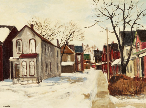 Colourful painting of a residential street during winter.