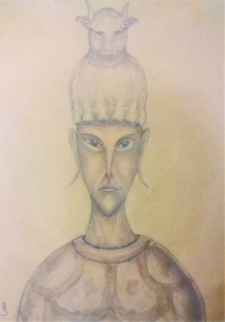 Pencil drawing on paper of a figure with long, angular facial features and a tall headpiece that looks like a horned mammal