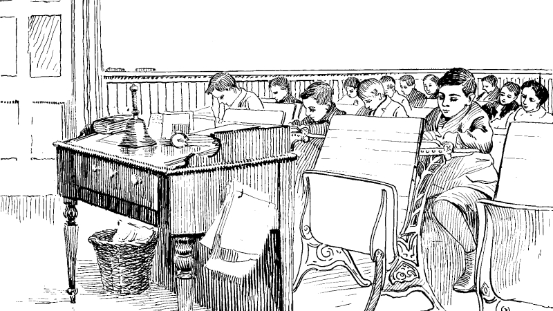 Colouring page of vintage classroom