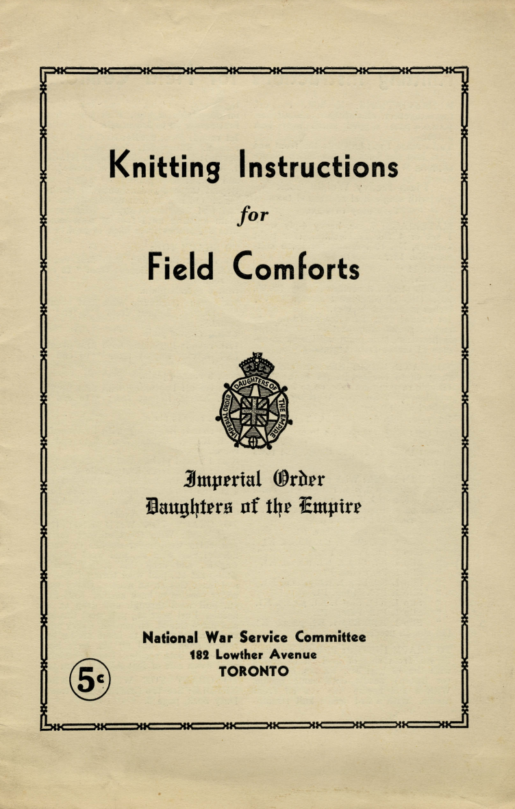 Book cover reading Knitting Instructions for Field Comforts and publication information along with five cent price