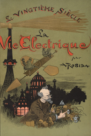 Book cover with illustration of inventor with flying machine and city silhouetted in background