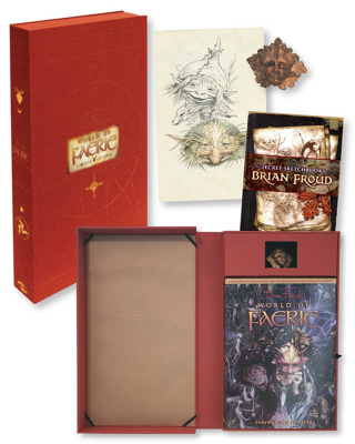 Open box set showing components including art books, art print and small resin sculpture of the Green Man