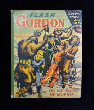 Book cover of Flash Gordon in the Ice World of Mongo with illustration of characters in spacesuits fighting with figures dressed in fur