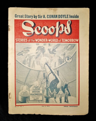 Front cover of Scoops periodical. Cover illustration shows ray gun aimed at the moon.