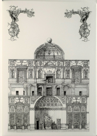 Detailed pen-and-ink illustration of a mansion