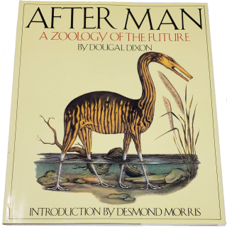 Book cover with surreal, imaginary long-necked animal with bird-like feet walking through shallow water.