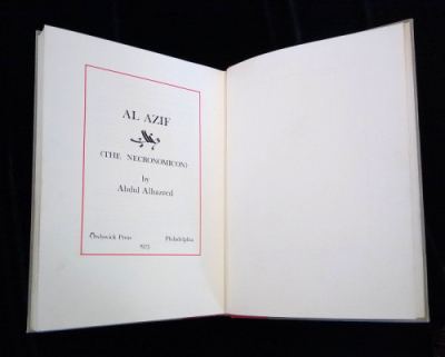 Interior sparse title page for Al Azif