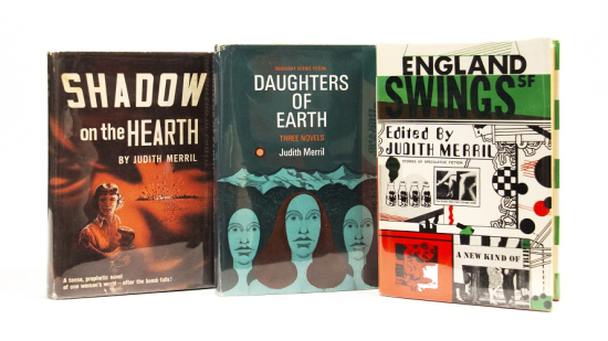 Three hardcover books including Shadow on the Hearth, Daughters of Earth, and England Swings