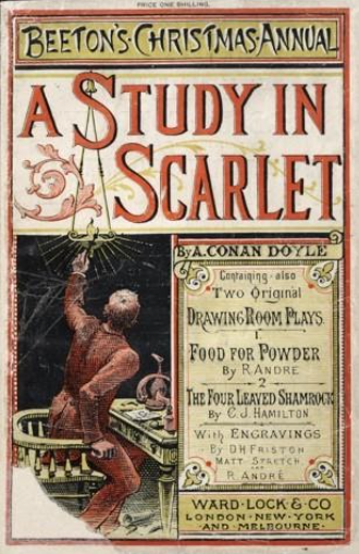 Magazine with title A Study in Scarlet and credit reading By A. Conan Doyle containing two original drawing room plays and pulblisher details Ward Lock and Co London New York and Melbourne