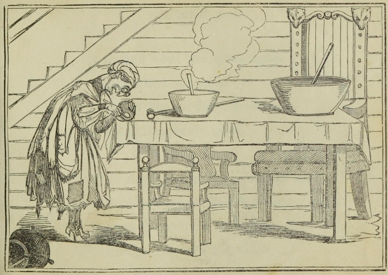 Illustration of old woman eating the bears' porridge