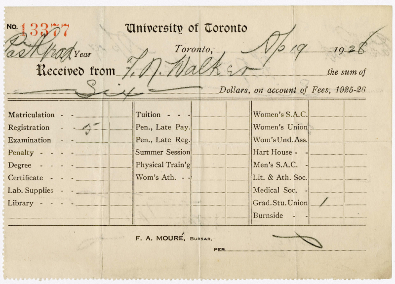 U of T November 19  1928 Tuition Receipt with columns of different potential fees such as Matriculation registration examination and penalty