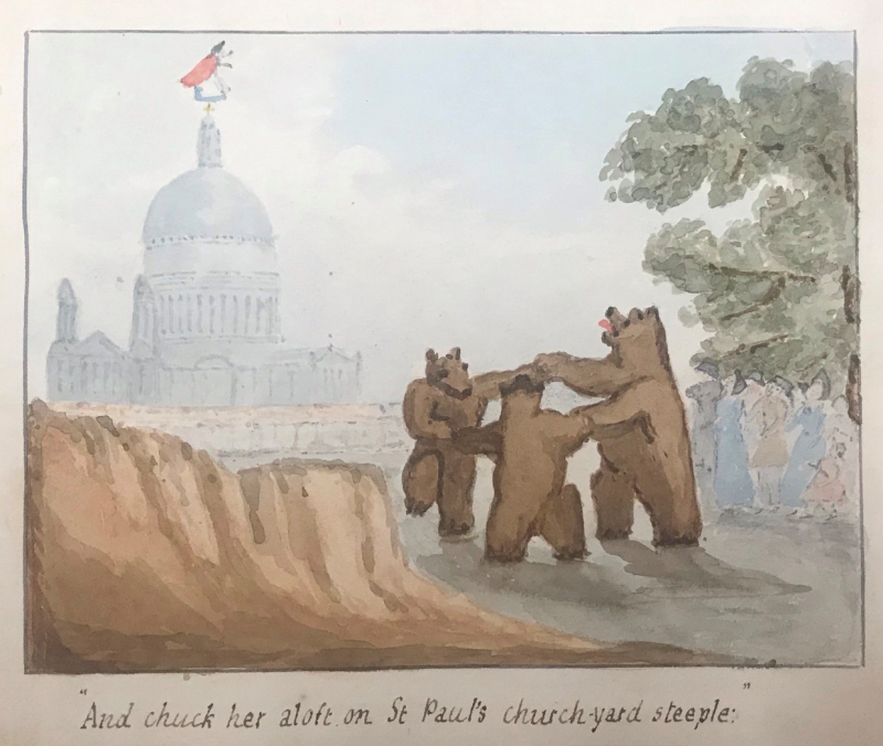 "Illustration of The Three Bears dancing with St. Paul's Cathedral and the Old Woman in the background. Caption reads ""And chucj her aloft on St Paul's church-yard steeple."""