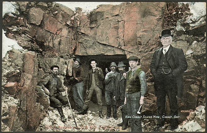 King Cobalt Silver Mine Ontario written on coloured postcard showing miners in front of mine