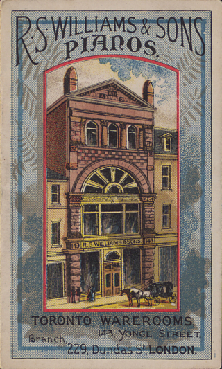 Colour illustration shows a storefront with multiple stories and large glass windows on the first and second floors. A carriage sits outfront and people look into the windows.