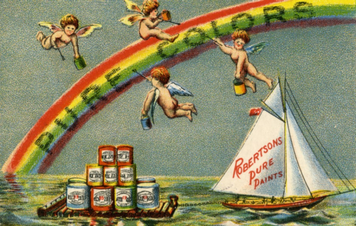 Four cherubs paint a rainbow which reads Pure Colors. A sailboat below has the name Robertsons Pure Paints