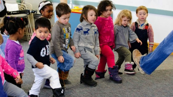 Group of kindergarteners dancing