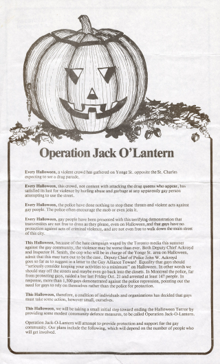 A black and white poster featuring an illustrated carved pumpkin.