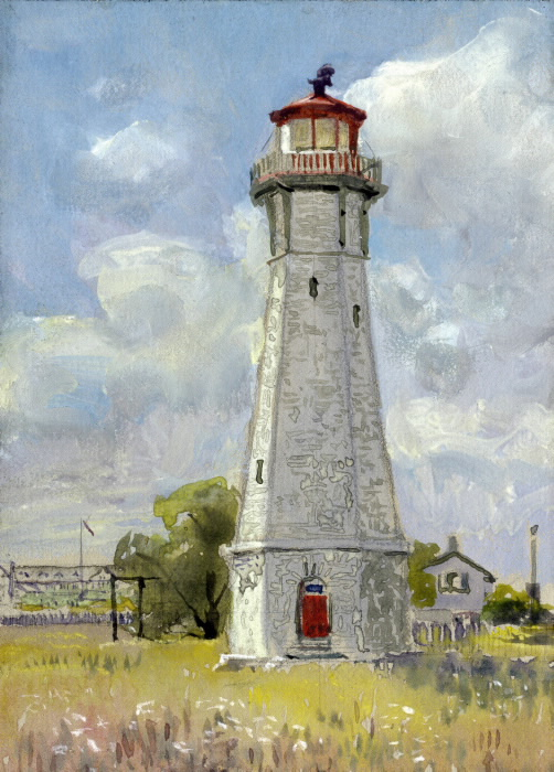 Painting of stone lighthouse on sunny day