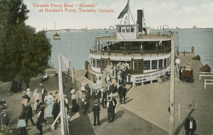 Illustrated postcard showing large group getting off ferry and the words Toronto Ferry Boat Bluebell at Hanlan's Point Toronto Canada