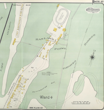 Map of Hanlan's Point showing individual buildings, surrounding bays and a stadium at the tip of the point