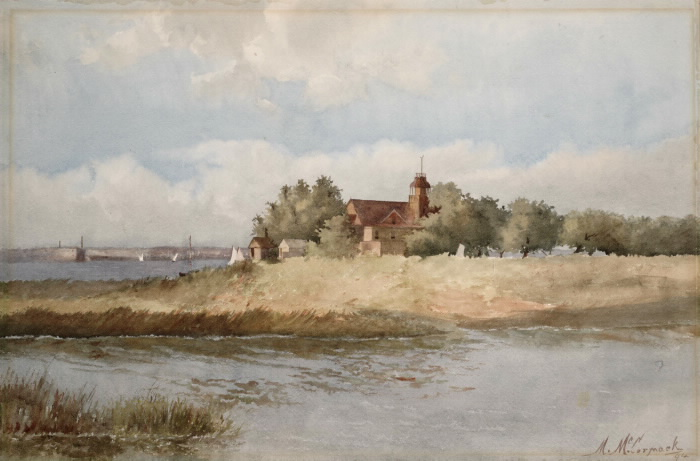 Painting of building on a bit of land surrounded by water