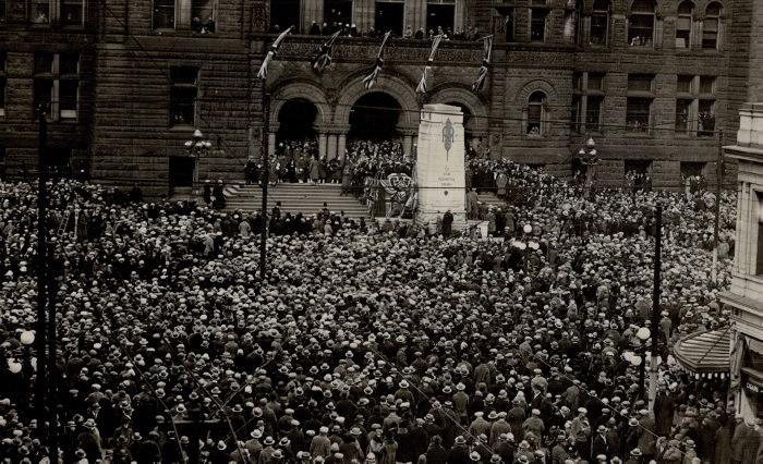 Crowd packed in front of stairs to old City Hall in Toronto