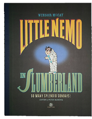 A small boy in a white, polka-dot clown suit stands out on a black book cover.