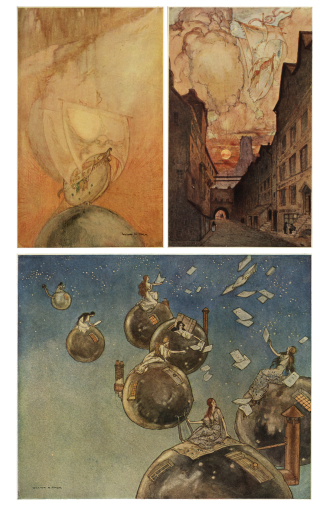 Select illustrations from The Ship That Sailed to Mars: a Fantasy by William M. Timlin, 1892-1943, (London: George G. Harrap, ca. 1923).