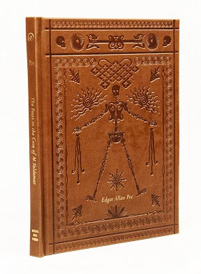 Leather-bound cover of The Facts in the Case of M. Valdemar with stamped illustration of skeleton.