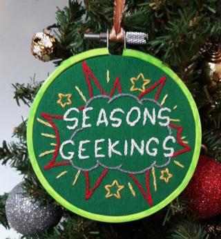 Seasons Geekings embroidered Christmas tree ornament