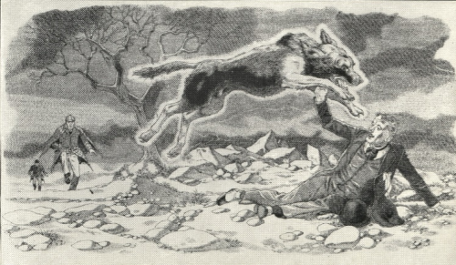 Illustration of wintry scene and wolf like animal attacking a figure as two other figures rush toward the scene