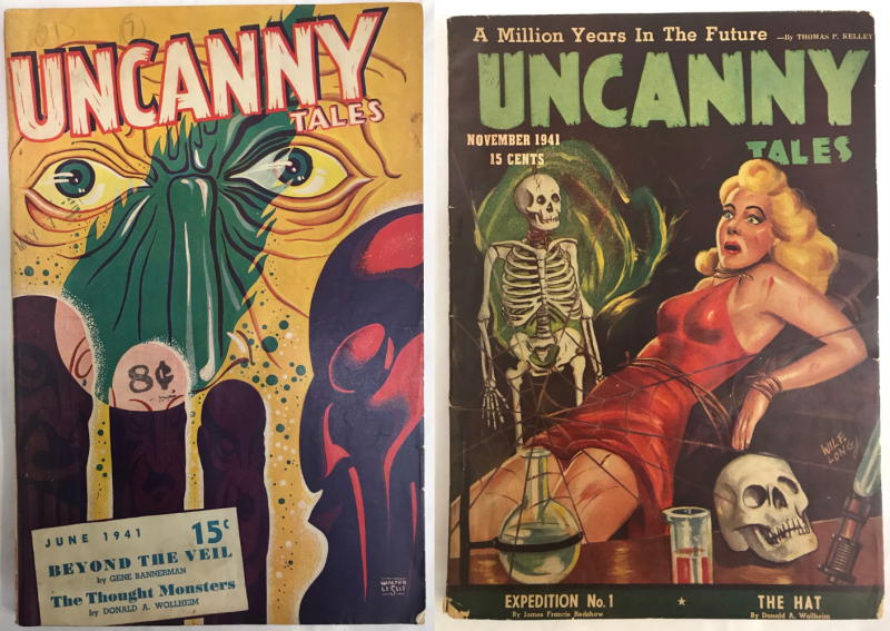 Covers of Uncanny Tales (June 1941 and November 1941 issues)