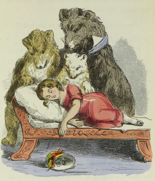 Illustration of The Three Bears discovering Silver-Hair sleeping
