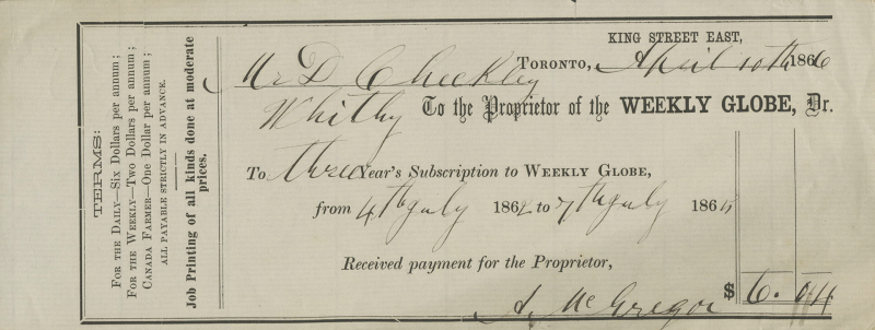 1866 Weekly Globe subscriptionslip with terms in small print and lines for customer to enter in information