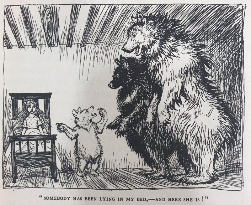 "Illustration of the Three Bears confronting Goldilocks. Caption reads ""somebody has been lying in my bed and here she is!"""
