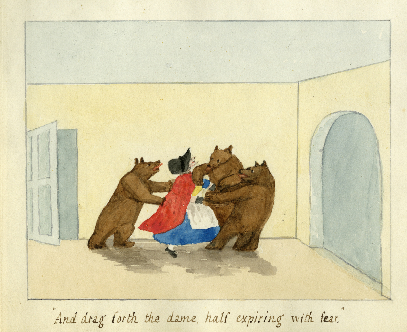 "Illustration of the Old Woman being dragged by the Three Bears. Caption reads ""And drag forth the dame, half expiring with fear."""