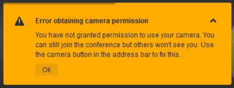 Error obtaining camera permission