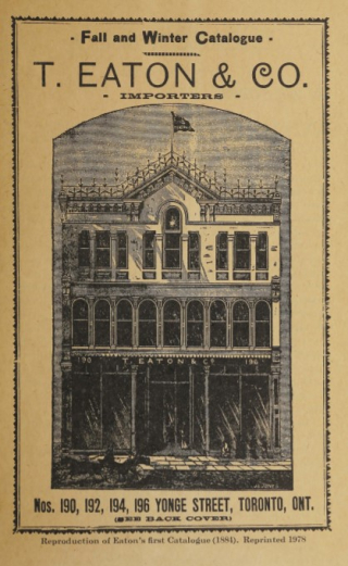 Cover of Eatons 1884 Catalogue showign illustration of Toronto storefront