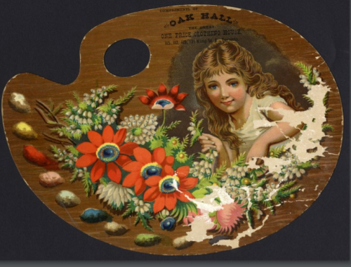 Trade card in the shape of a painters palette with an image of a young girl and flowers