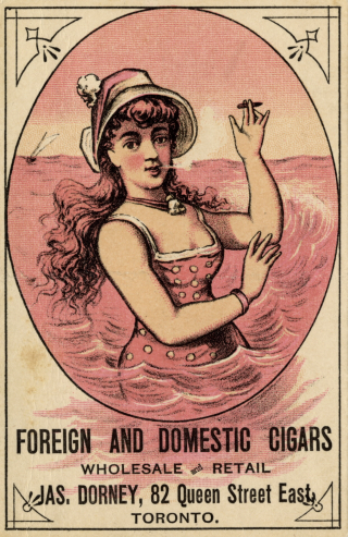 Trade card with young woman wearing a hat up to her waist in water smoking a small cigar