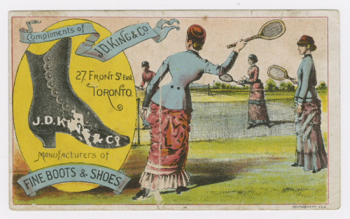 Full colour trade card with illustration of large women's boot and four women playing tennis