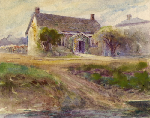 Colourful painting of house  and dirt roads
