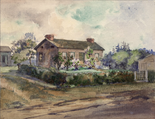Exterior of house with verdant garden and dirt road