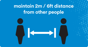 maintain 2m/6 ft distance from other people icon