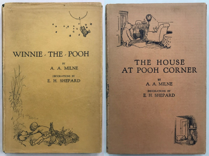 Original dustjacket covers of Winnie-the-Pooh and The House at Pooh Corner