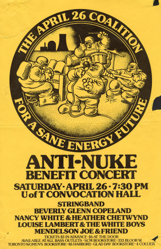 Poster printed on yellow paper has illustration of a band performing in hazmat suits